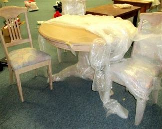 Pine Pedestal Table with 4 chairs. New Imported from Germany and still in wrappers.