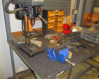 Central Machinery 5 speed drill press, steel table with back board & vice