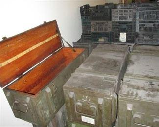 Wood gun storage cases with crinoline, plastic bins