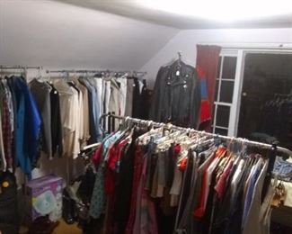 5 racks of clothing. Styles from young misses to a mature woman's taste. All sizes from small and petite to large and xxl