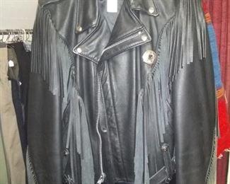 High end, high fashion leather coats