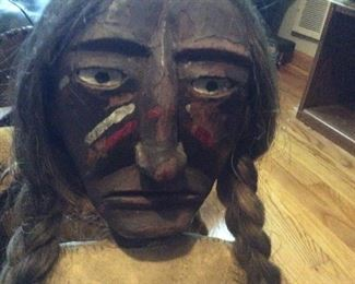 Hand carved folk art Native American wooden hand crafted   Unique very old folk art one of a kind