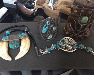 1920s ketoh sand cast ,Native American sterling cuff 177g ,  sterling butler & Wilson Turquoise and opal skull cuff.   How cool !