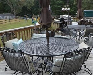 table and chairs/umbrella $240
