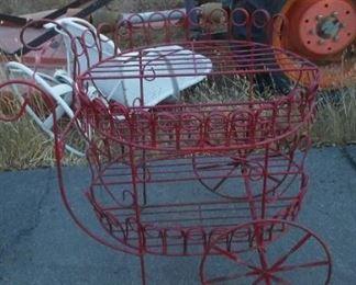 Vintage red tea cart