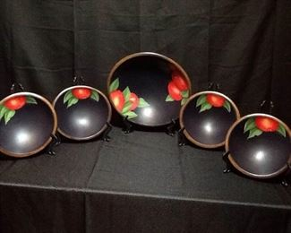 Hand Painted Apple Bowls Set of Five