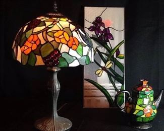 Tiffany Style Lamp, Cheyenne Stained Glass Teapot, and Artist Created Stained Art