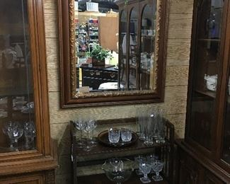 Mirror and small shelf perfect to hold your bar glasses