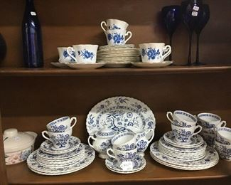 Top: Elizabethan dishes Bottom: Blue onion pattern dishes