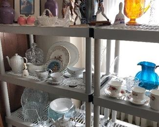 vintage glass, crystal, porcelain, teapots, etc