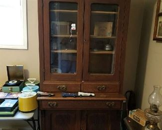 This Kitchen or Library cabinet is marked at $400. Look at the woodwork!