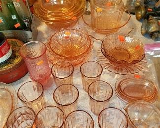 Pink depression glass pieces very affordable.. wonderful for wedding showers and tea times