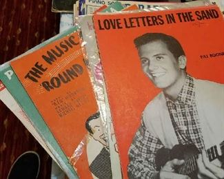 A selection of sheet music from the 1940's to 60's