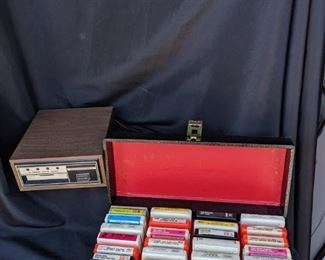 8 Track Stereophonic Cartridge Tape Player with Tapes