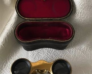 Antique Lemaire Paris Brass and Mother of Pearl Opera Glasses Binocular