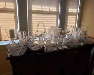 Crystal vases and bowls, vintage Gorham and Galway
