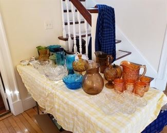 Antique and vintage glass, including Carnival Glass Pitcher and 4 cups.