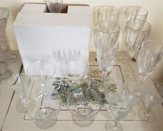 Antique etched wine glasses, and contemporary Gorham lead crystal wine glasses.