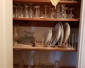 Etched crystal wine glasses and liqueur glasses, various serving plates