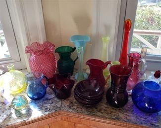 Pairpoint and artisan blown and pressed glass, including ruby glass.