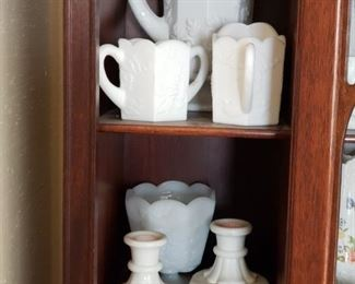 Milk glass pitcher and matching creamer and sugar, and candlesticks