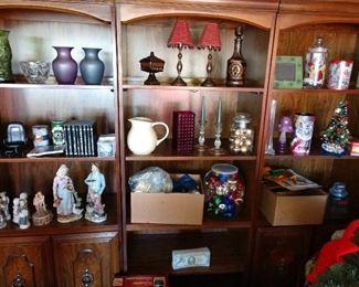 Vintage Wood Cabinets, Knick knacks, Figurines, Glassware, Christmas decor.  Vases.