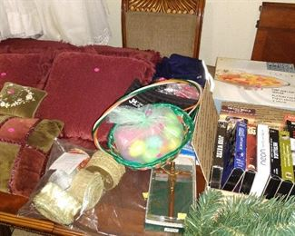 Vintage decorative Pillows and Curtains, Easter decorations, VHS Movies, Glass food serving trays.