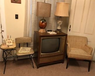 Mid Century Modern Chair, Lamps, TV, Telephone Table