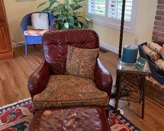 1940's Red Leather chair and ottoman