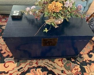 Blue Painted Trunk / Coffee Table. So cute!