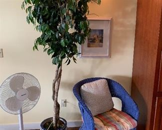 Pair of blue wicker chairs, many fans