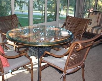 Patio table and 6 chairs (Chairs purchased at Halls)