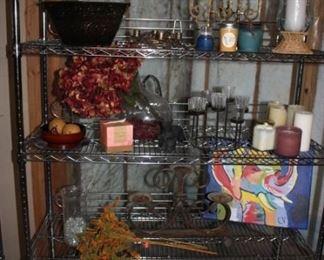 Several rolling shelves