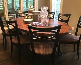 Oval copper topped table (Arhaus) and 8 chairs