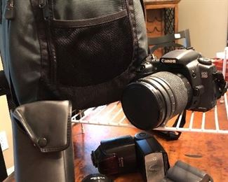 Canon digital camera with 2 lens, flash, case