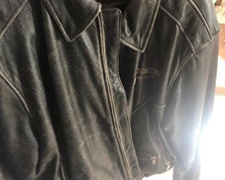 distressed leather harley coat