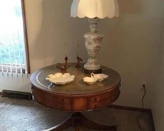 Side table, table lamp, Lenox candy dish, Lenox bowl