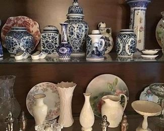 Selection of decorative items, Delft, Lenox, glass.