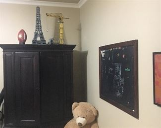 Chest, chalkboard and legos