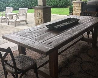 Restoration Hardware table, has two leaves to extend the table