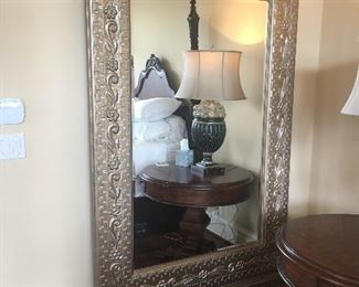 Amazing large framed mirror hung on french cleat