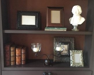 A sampling of the decorative pieces available. Beautiful frames, bust and candle holder