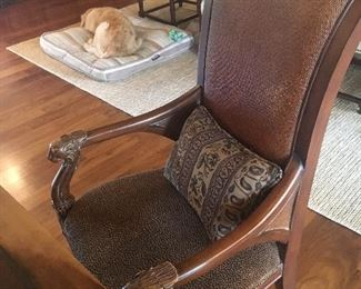 Desk or side chair with carved arms, animal print seat and leather back
