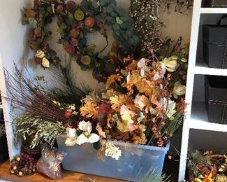 Large assortment of faux floral pieces