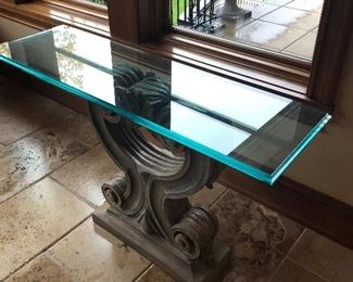 Plaster based, glass top console table