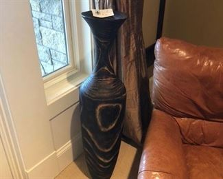 Large wooden vase and Italian leather chair and ottoman