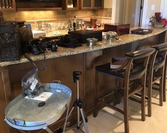 Bar stools, galvanized tray table and other bar accessories