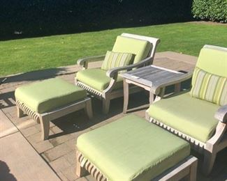 Smith & Hawken chairs, ottomans and side table.  Sold with cushions and covers