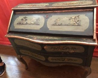 """An Italian rococo style painted decorated wood slat front desk, 18th century.  41.5""""h x 43.5""""w x 21""""d.  Valued at $3000 - $5000 asking $1200 color is distorted by red walls prior photo is accurate"""