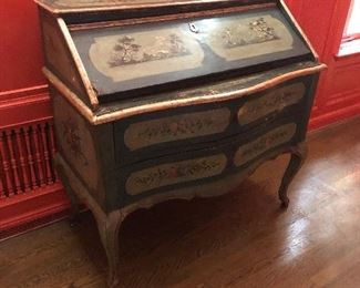 """An Italian rococo style painted decorated wood slat front desk, 18th century.  41.5""""h x 43.5""""w x 21""""d.  Valued at $3000 - $5000 asking $1200. Color is distorted in photos due to red walls"""